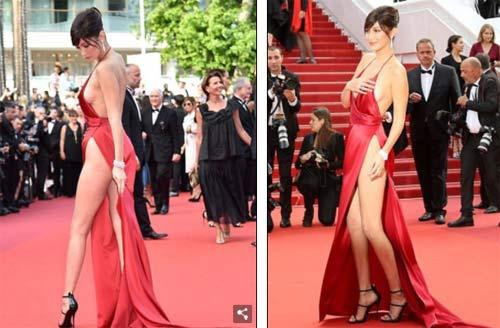 """Hot girl Hollywood nổi """"bần bật"""" tại Cannes vì sự cố váy xẻ sâu - 4"""