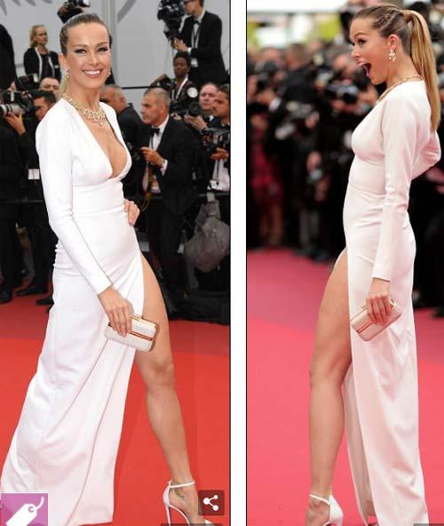 Lại một mỹ nữ khác phải xấu hổ vì váy xẻ cao tại Cannes 2