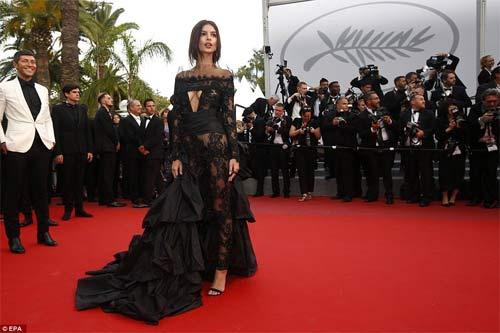 Lại một mỹ nữ khác phải xấu hổ vì váy xẻ cao tại Cannes 9