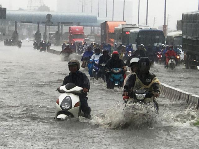 Mưa như trút nước, đường Sài Gòn ngập như sông