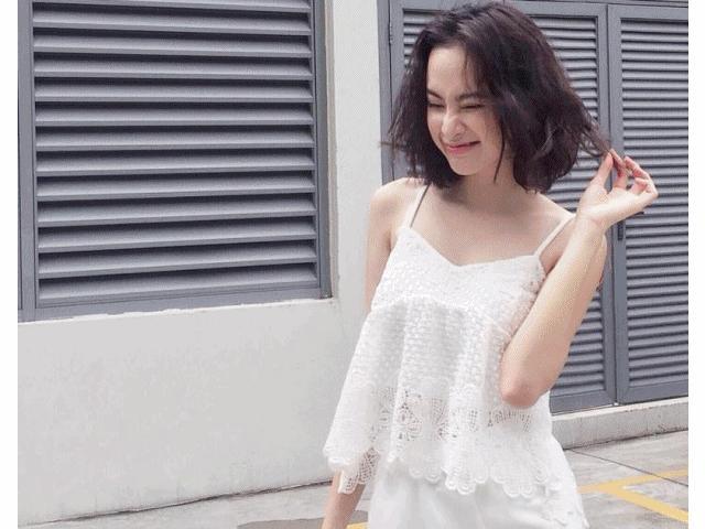 Angela Phương Trinh tự tin dạo phố với váy ngủ cũn cỡn