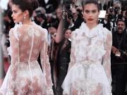 """Thời trang - Thiên thần nội y """"mặc như không"""" đến Cannes, lộ 80% cơ thể"""
