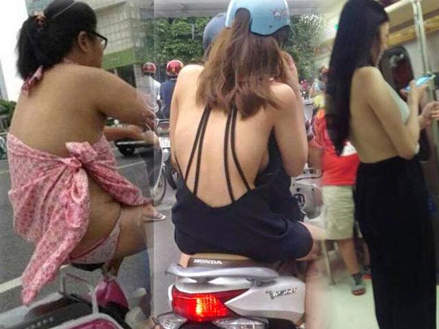 Xây xẩm mặt mày nhìn thiếu nữ châu Á mặc mát mẻ ngày hè