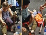 Bạn trẻ - Cuộc sống - Cô gái Tây hút thuốc lào say ngất ngây trên phố Hà Nội