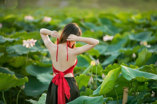 Áo yếm là trang phục được các cô gái chọn lựa nhiều hơn cả khi chụp ảnh cùng loài hoa tượng trưng cho vẻ đẹp thuần Việt này (ảnh: Huy Hoàng Đoàn). & nbsp;