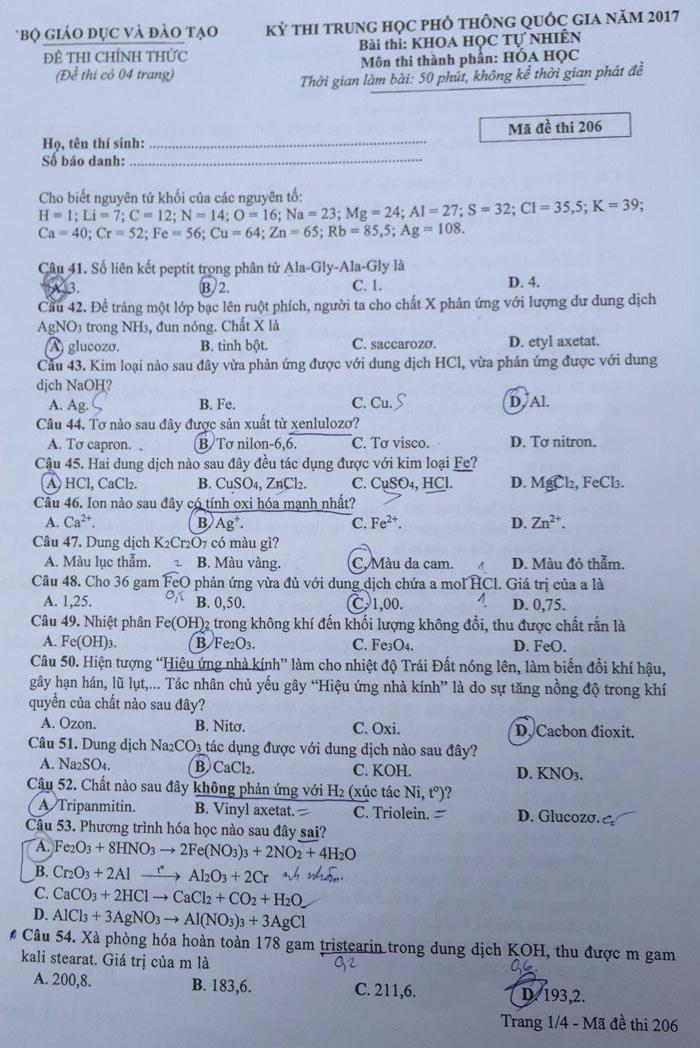 HOT: Gợi ý giải đề thi tốt nghiệp THPT Lý, Hóa, Sinh - 17