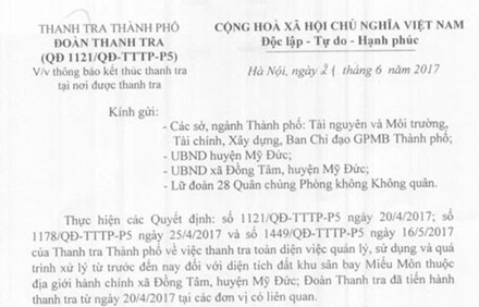 Hà Nội thông báo kết thúc thanh tra Đồng Tâm - 1