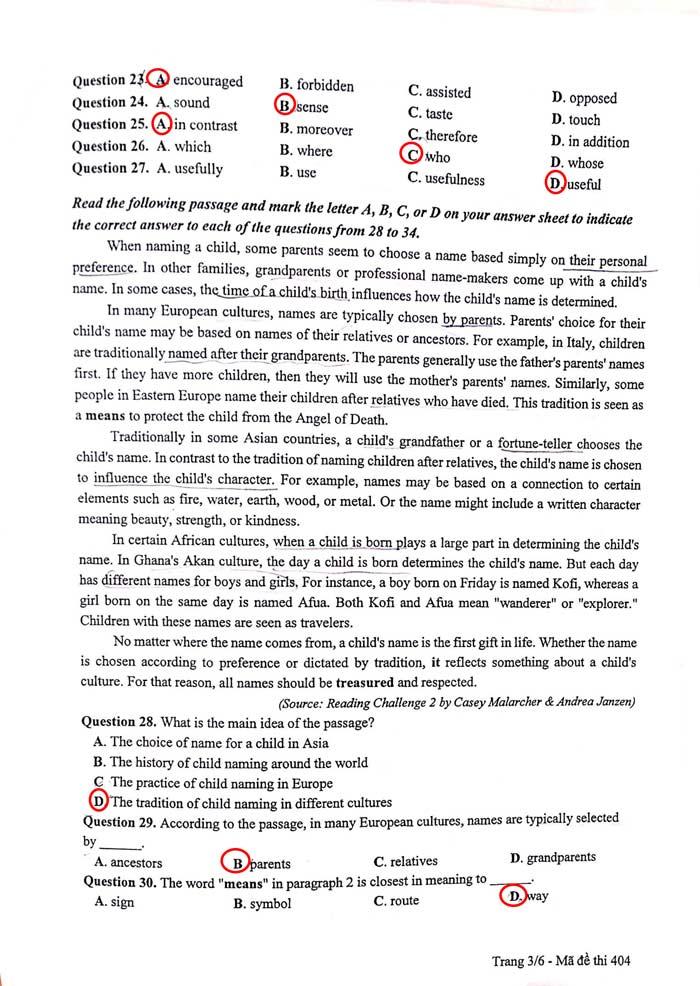 Đề thi, gợi ý lời giải môn Tiếng Anh kì thi THPT - 14