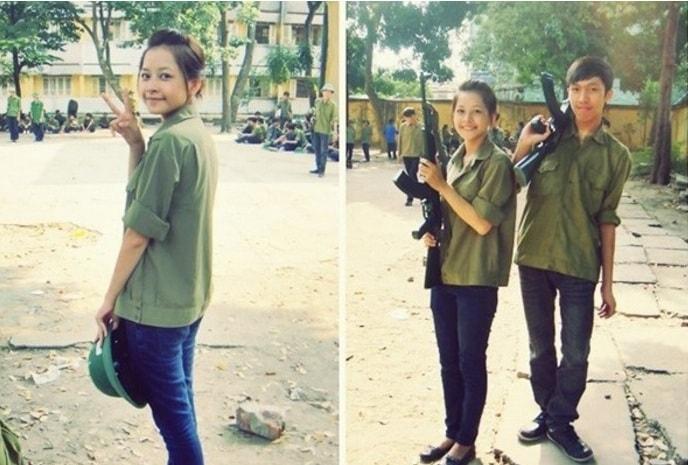 Bóc mẽ nhan sắc Hoàng Thùy Linh, Kỳ Duyên thời sinh viên học quân sự - 6
