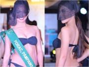 Thời trang - Người đẹp HH Trái đất mặc bikini, che mặt kín mít kỳ quặc