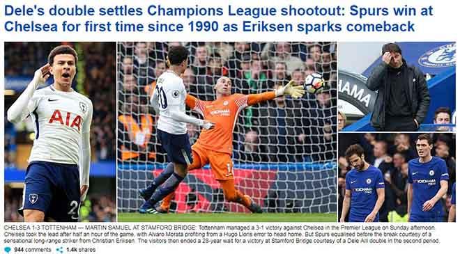 """Chelsea thua thảm: Báo Anh """"khóc"""" Conte, chờ """"Sa hoàng"""" xuống tay"""