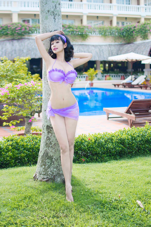 Lê Kiều Như mặc bikini tự thiết kế từ túi đựng rác - 4