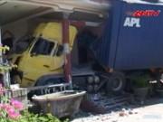 Video An ninh - Container lao vào nhà dân, cả gia đình suýt chết