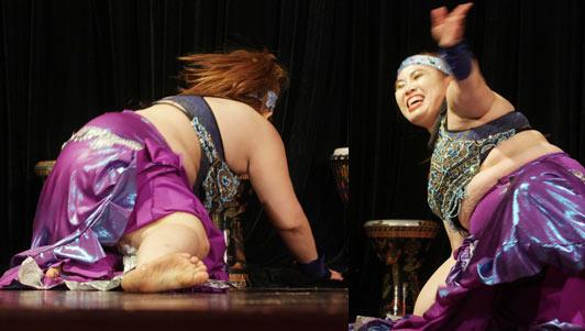 """""""Bà mẹ ngàn cân"""" ngã sõng soài trên sân khấu bellydance"""