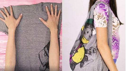 5 phút biến áo phông cũ thành túi xách dễ thương