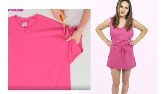 Tự tạo váy đi biển mát mẻ từ áo phông cũ