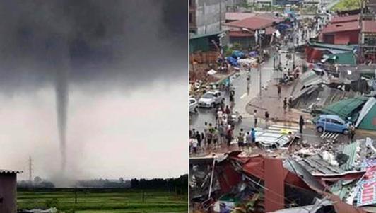 Clip: Vòi rồng khủng khiếp cuốn bay nhà ở Bắc Ninh