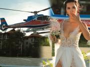 Thời trang - Siêu mẫu Hà Anh dùng trực thăng đến đám cưới