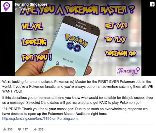 Singapore: Một công ty đăng tin tuyển cao thủ săn Pokémon