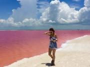"""Du lịch - Vẻ đẹp siêu thực của hồ nước hồng có """"1-0-2"""" ở Mexico"""