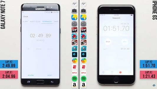 """iPhone 6s """"hạ gục"""" Galaxy Note 7 trong bài đo hiệu năng"""