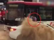 Bạn trẻ - Cuộc sống - TQ: Nghẹt thở tài xế xe buýt cứu người giữa nước lũ