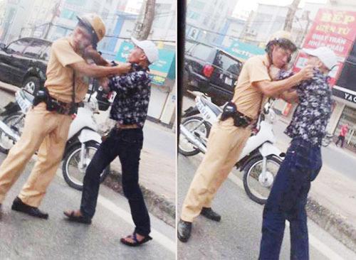 """CSGT bị """"dân anh chị"""" túm cổ áo, tấn công giữa đường"""
