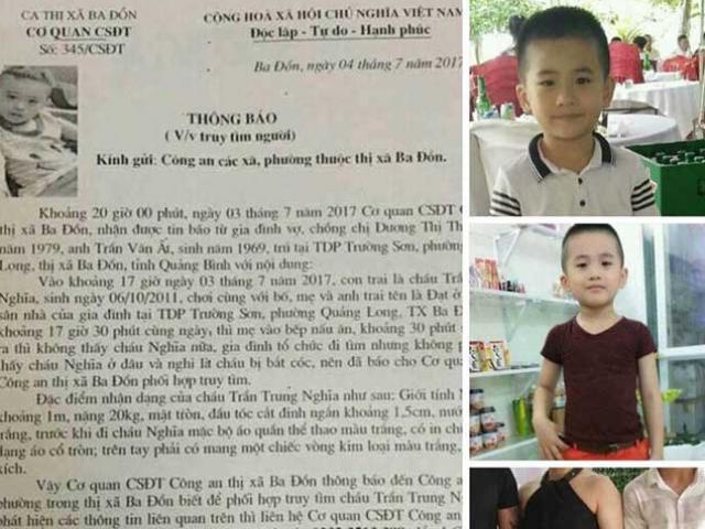 SỐC: Tìm thấy thi thể cháu bé mất tích bí ẩn ở Quảng Bình
