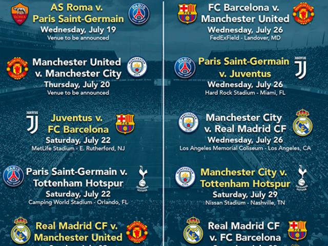 Lịch thi đấu bóng đá International Champions Cup 2017 (ICC Cup)