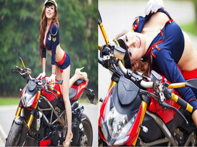 """Ngắm """"nữ đại úy"""" khoe đường cong bên Ducati"""