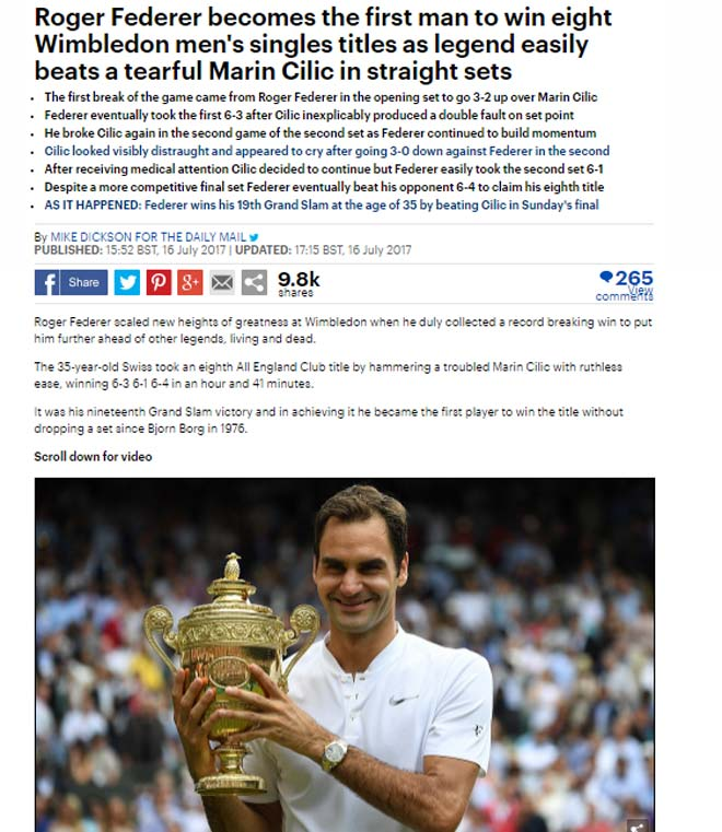 Báo chí thế giới: Cả hành tinh ngưỡng mộ Federer