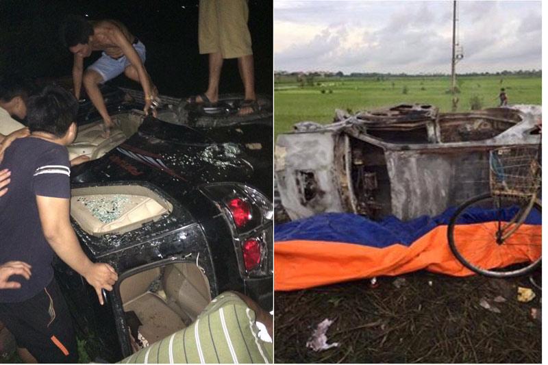 Dân đốt rụi ô tô Fotuner vì nghi 2 người trên xe bắt cóc trẻ em - 1