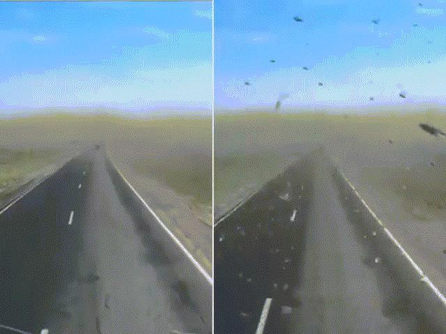 """Kinh hãi chạy xe giữa """"bão"""" châu chấu ở Nga"""