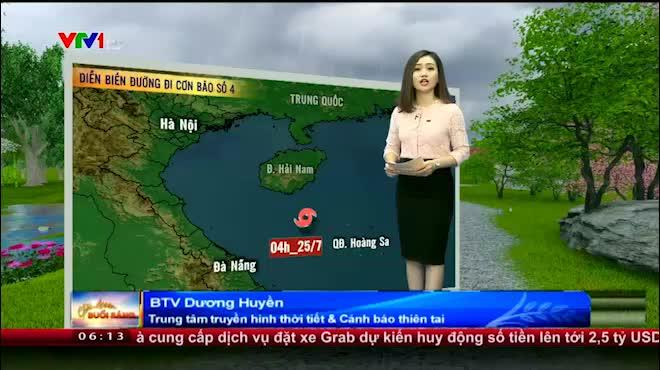 Dự báo thời tiết VTV 25/7: Bão số 4 áp sát Hà Tĩnh- Quảng Trị