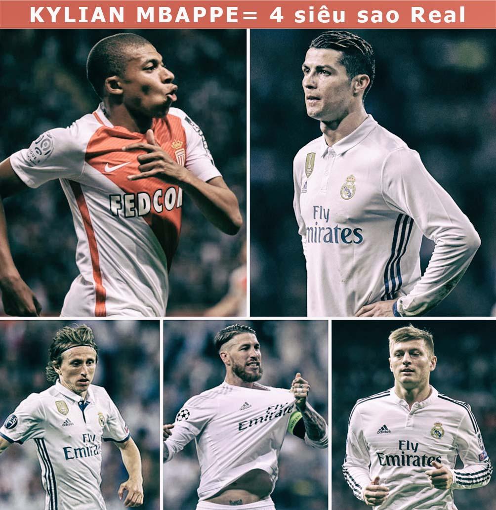 Mbappe = Ronaldo + 3 sao Real: 180 triệu euro khuấy đảo trời Âu (Infographic) - 1