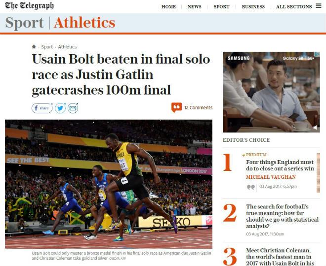 """Báo chí thế giới chấn động: Bolt cúi đầu trước """"Kẻ phản diện vĩ đại"""" - 5"""