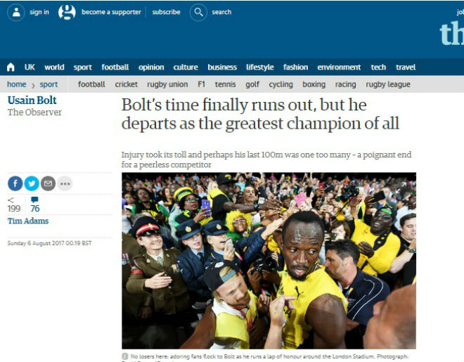 """Xem Ảnh đọc báo tin tức Báo chí thế giới chấn động: Bolt cúi đầu trước """"Kẻ phản diện vĩ đại"""" - Thể thao - Tin tức 24h và truyện phim nhạc xổ số bóng đá xem bói tử vi 6 the thao 24h"""