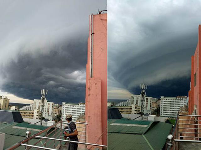 Sự quái lạ của đám mây đen tựa UFO xuất hiện ở Sầm Sơn