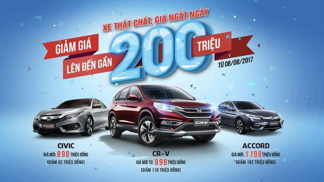 Honda Việt Nam công bố giá mới hấp dẫn cho CR-V, Civic và Accord
