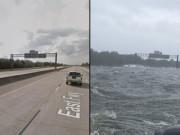 Hứng siêu bão Harvey, cao tốc Mỹ biến thành đại dương