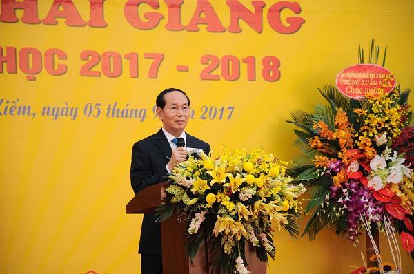 Chủ tịch nước Trần Đại Quang đánh trống khai giảng năm học mới - 1