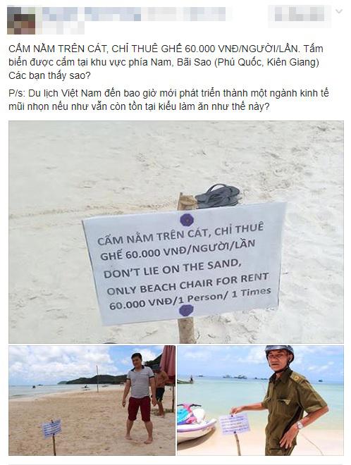 """Tấm bảng """"cấm nằm trên cát"""" ở biển Phú Quốc khiến du khách bức xúc - 1"""