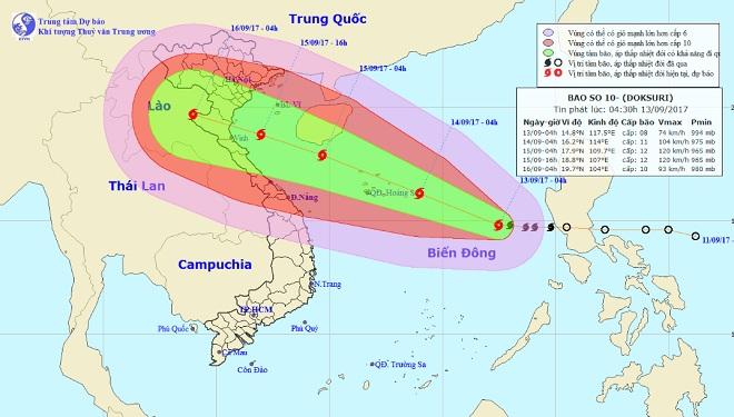 Bão số 10 tăng cấp khủng khiếp, nhắm thẳng vào Thanh Hóa-Hà Tĩnh - 1
