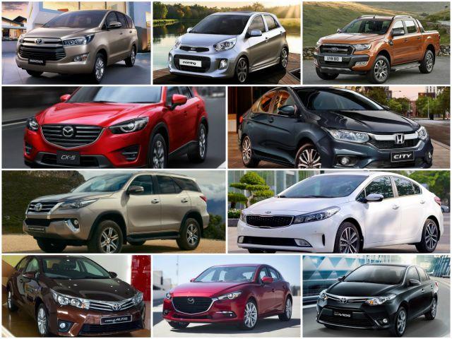 10 mẫu ô tô bán chạy nhất Việt Nam tháng 8/2017
