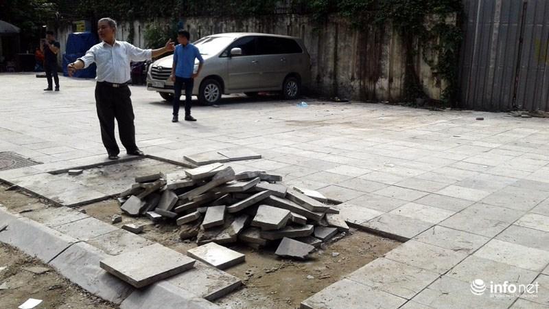 Hà Nội: Công trình lát đá vỉa hè mới làm xong đã nát bét - 7