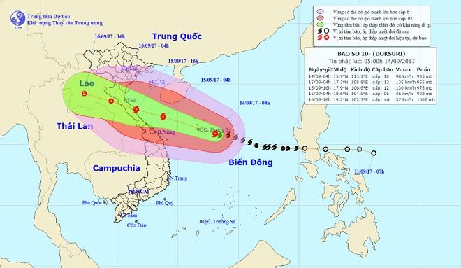 Bão số 10 bắt đầu tăng cấp, hướng thẳng về Nghệ An-Quảng Trị - 1