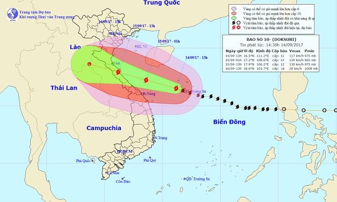 Bản tin thời tiết 17h: Bão số 10 mạnh thêm, cách Hà Tĩnh-Quảng Bình 470km - 1