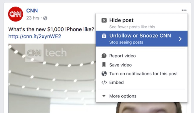 Facebook cho phép bỏ theo dõi ai đó tạm thời - 1