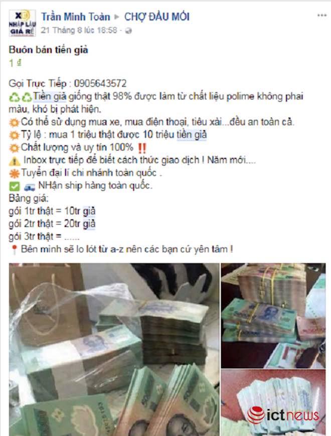 Mua tiền giả trên Facebook dễ như… mua rau - 2