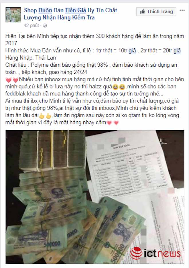 Mua tiền giả trên Facebook dễ như… mua rau - 6